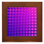 Purple Retro Squares Pattern Framed Tile