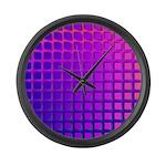 Purple Retro Squares Pattern Large Wall Clock