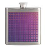 Purple Retro Squares Pattern Flask