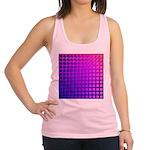 Purple Retro Squares Pattern Racerback Tank Top