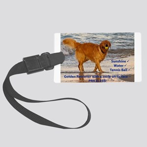 Golden Retriever 10 Large Luggage Tag