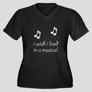 Live In Musical Women's Plus Size V-Neck Dark T-Sh