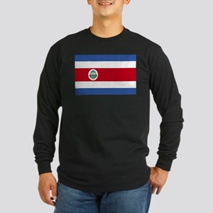 Flag of Costa Rica Long Sleeve Dark T-Shirt