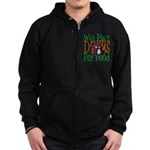 Will Play Drums Zip Hoodie (dark)