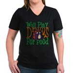 Will Play Drums Women's V-Neck Dark T-Shirt