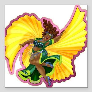 Big-n-Beautiful Winged Belly Dancer Square Car Mag