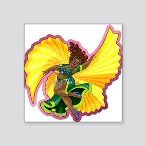 Big-n-Beautiful Winged Belly Dancer Square Sticker