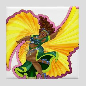 Big-n-Beautiful Winged Belly Dancer Tile Coaster