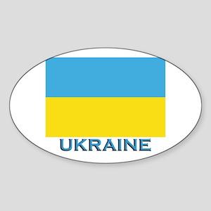 Ukraine Flag Gear Oval Sticker