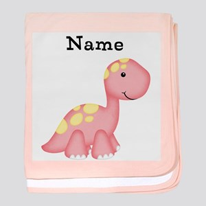 Personalizable Girls Dinosaur baby blanket