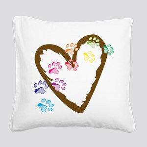 Paw Heart Square Canvas Pillow