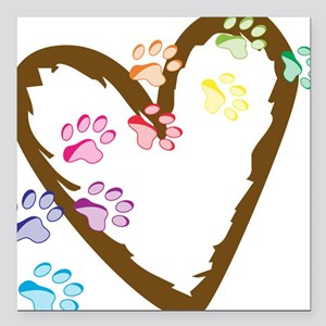 "Paw Heart Square Car Magnet 3"" x 3"""