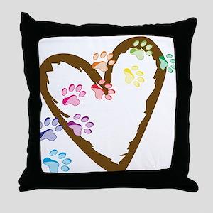 Paw Heart Throw Pillow