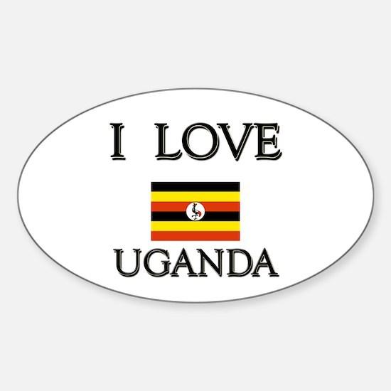 I Love Uganda Oval Decal