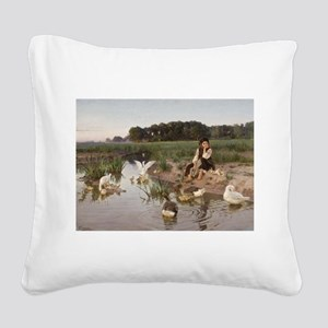 Daydreaming with the Geese Square Canvas Pillow