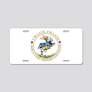 I'm Late, I'm Late! Aluminum License Plate