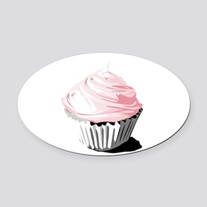Pink cupcake Oval Car Magnet