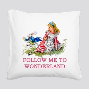 ALICE - Follow Me To Wonderla Square Canvas Pillow