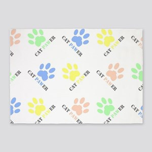 Cat lover design cat paw prints col 5'x7'Area Rug