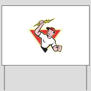 Electrician Construction Worker Cartoon Yard Sign