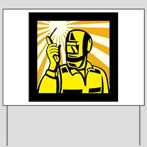 Welder Worker Welding Torch Retro Yard Sign