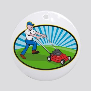 Lawn Mower Man Gardener Cartoon Ornament (Round)