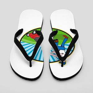 Lawn Mower Man Gardener Cartoon Flip Flops