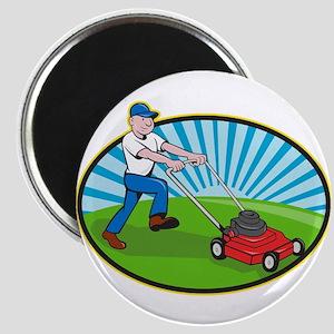 Lawn Mower Man Gardener Cartoon Magnet