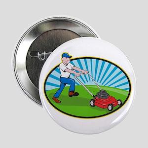 "Lawn Mower Man Gardener Cartoon 2.25"" Button"