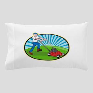 Lawn Mower Man Gardener Cartoon Pillow Case