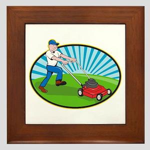 Lawn Mower Man Gardener Cartoon Framed Tile