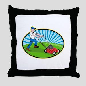 Lawn Mower Man Gardener Cartoon Throw Pillow