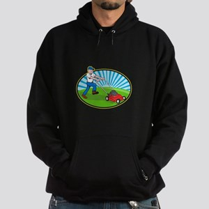 Lawn Mower Man Gardener Cartoon Hoodie (dark)