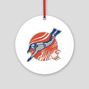 Scuba Diver Diving Retro Ornament (Round)