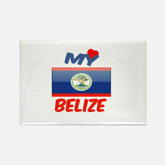 My Love Belize Rectangle Magnet