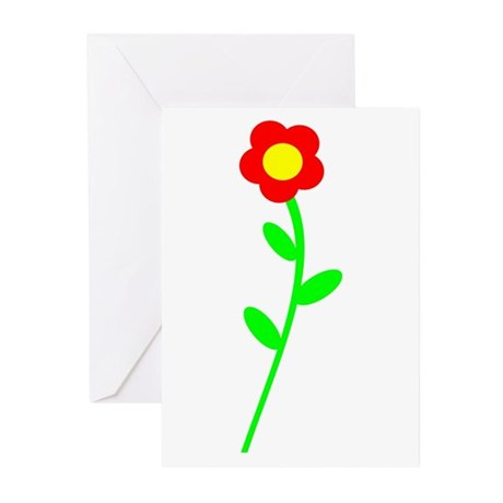 Pretty Red Flower Greeting Cards (Pk of 10)