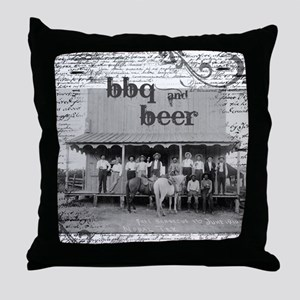 BBQ & Beer Saloon Vintage Style Throw Pillow