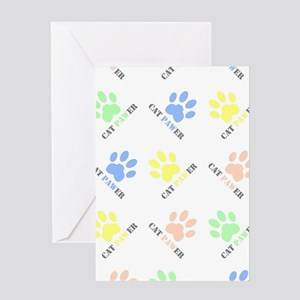 Cat lover design cat paw prints col Greeting Cards