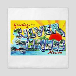 Silver Springs Florida Greetings Queen Duvet