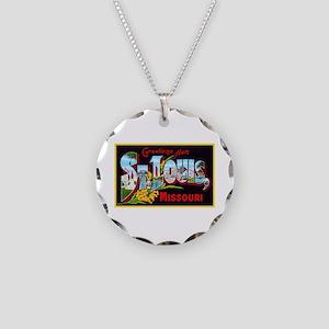 St Louis Missouri Greetings Necklace Circle Charm