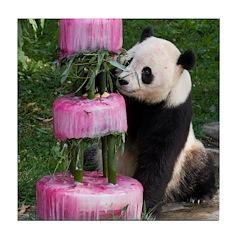 Panda With Cake Tile Coaster