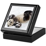 Panda Rolling In Snow Keepsake Box
