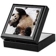Panda Playing in Snow Keepsake Box