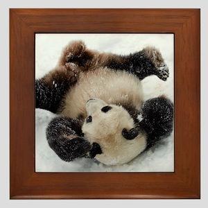 Panda in Snow Framed Tile