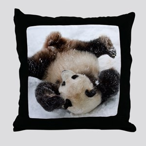 Panda in Snow Throw Pillow