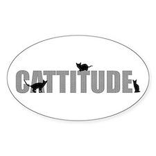 Cattitude Oval Sticker
