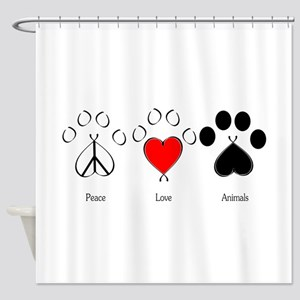 Peace Love Animals Shower Curtain