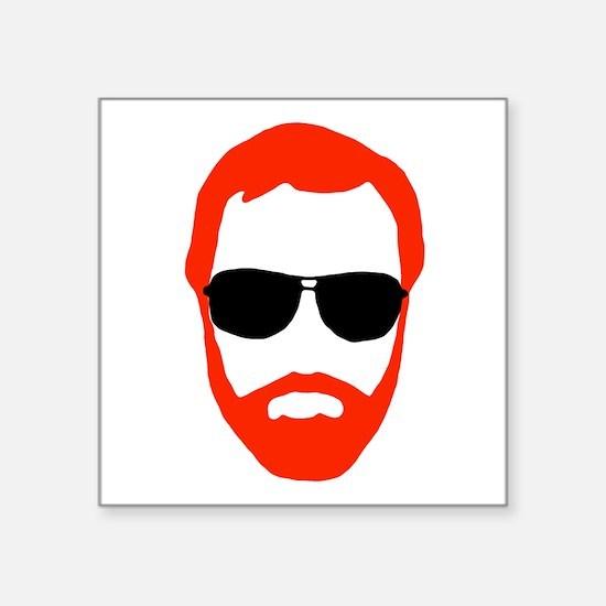"BeardoGlasses Square Sticker 3"" x 3"""