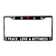 Peace Love and Kittiness License Plate Frame