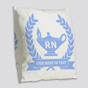 RN (Registered Nurse) Burlap Throw Pillow